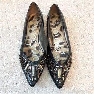NWOT Sam Edelman Black Leather Embellished Flats